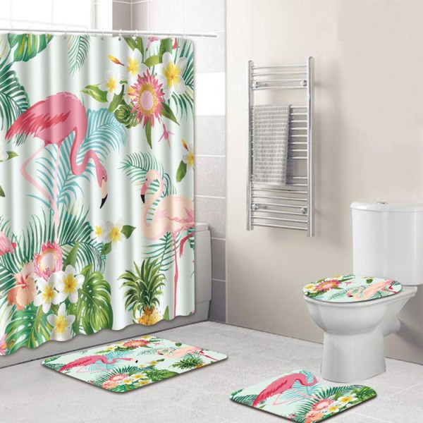 4pcs Pink Flamingos Decorative Bathroom Set