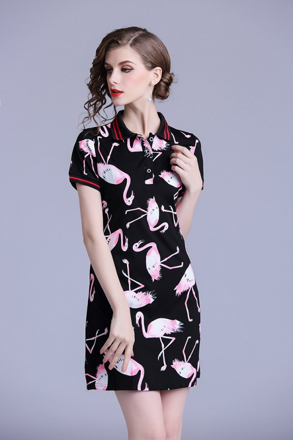 Women's Pink Flamingo Print Shirt Dress