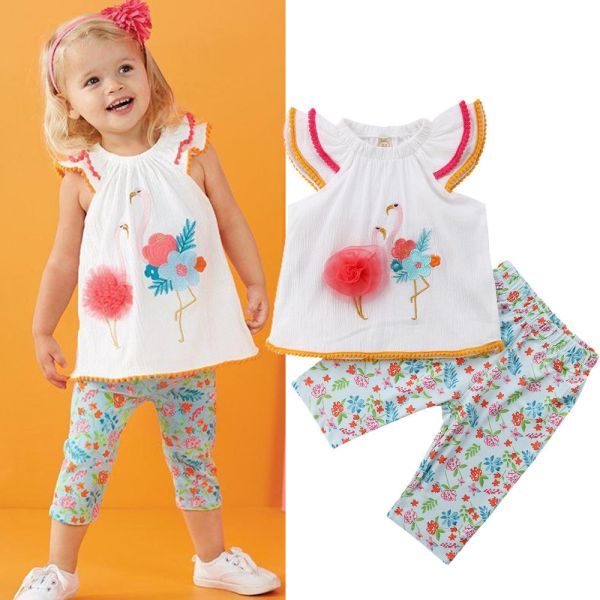 Girls Flamingo Print 2Pcs Summer Outfit