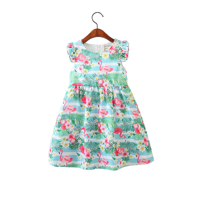 Toddler Girls Flamingo Pattern Summer Dress