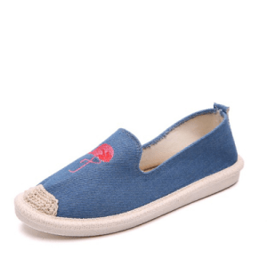 Women's Flamingo Design Embroidered Blue Loafers