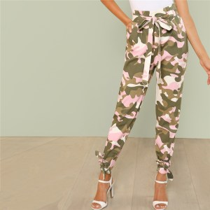 Women's Pink Camo Casual Belted Pants