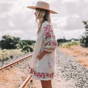 Women's Pink Embroidered Bohemian Mini Dress