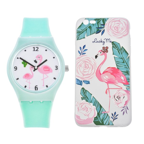 Pink Flamingo Silicone Watch Phone Case Set