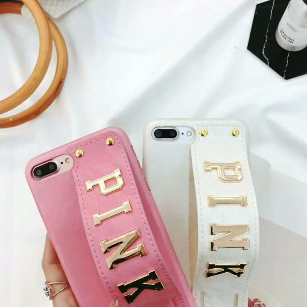 Luxury PINK Letter Wrist Band Leather iPhone Case
