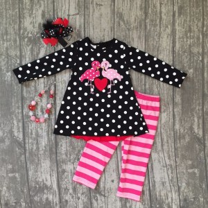 Girl's Flamingo Design Polka Dot Stripe Outfit