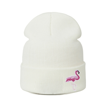 Women's Pink Flamingo Embroidered Slouch Beanie