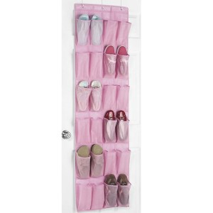 Pink 24 Pocket Over Door Shoe Organizer