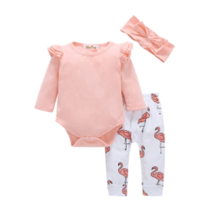 3 Piece Pink Flamingo Baby Girl Set
