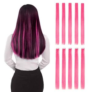"10 Piece Pink Clip-In 20"" Straight Hair Extensions"