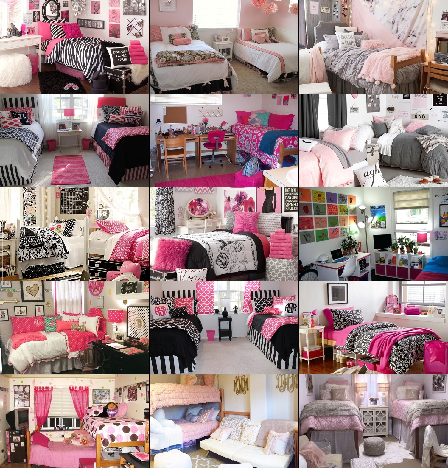 bedroom-interior-zebra-deep-pink-theme-dorm-room-marilyn ...