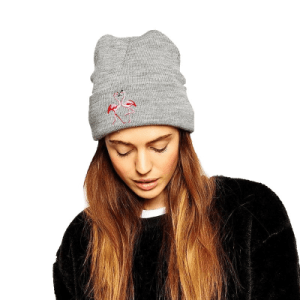Fashion Flamingo Embroidered Knitted Cap
