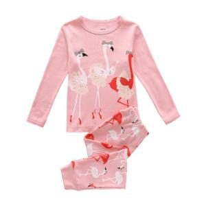 Girl's Lovely Flamingo Print Pajama Set