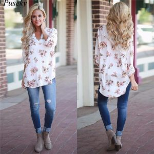 Women's Pink Floral Long Sleeve Tunic Top