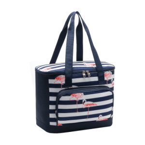 Flamingo Striped insulated Lunch Bag