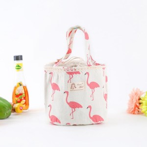 Pink Flamingo Print Round Thermal Lunch Bag