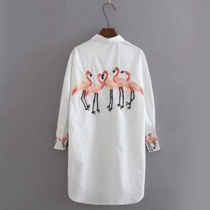 Women's Embroidered Flamingo Long Shirt