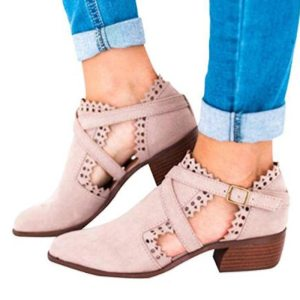 Women's Pink Gladiator Style Ankle Boots