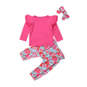 Little Girl's 3 Piece Flamingo Print Outfit