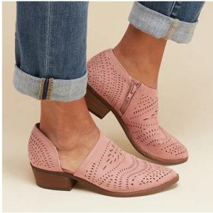 Women's Pink Brogue Ankle Boots