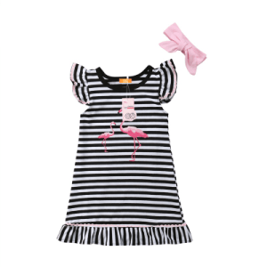 Girl's Flamingo Design Striped Dress