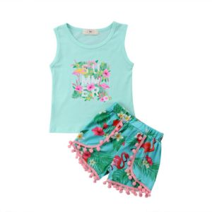 Girl's Pink Flamingo Design Summer Set