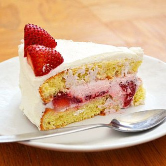 Chinese Bakery-Style Birthday Cake with Strawberry Mousse Filling
