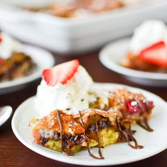 Strawberry, Banana & Nutella Bread Pudding
