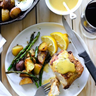 Pan Roasted Chicken, Potatoes & Asparagus with Truffle Honey Mustard Sauce {Sponsored Post – Maille}