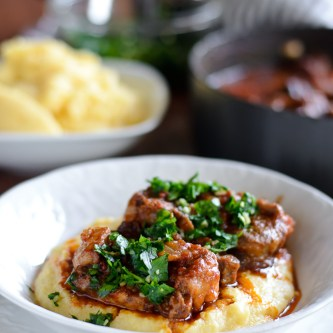 Oxtail Osso Buco with Parmesan Polenta & Dark Chocolate Olive Oil Mini Trifles…and a GIVEAWAY!