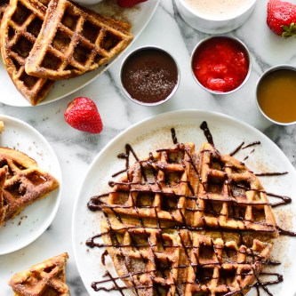 {Gluten Free} Churro Waffles with Chocolate, Strawberry & Caramel Dipping Sauces