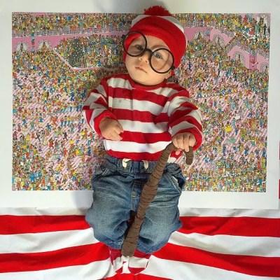 Menino fantasiado de Wally
