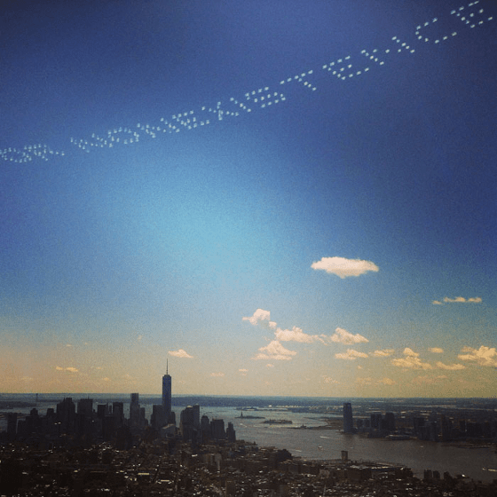 """As part of """"Severe Clear,"""" a project by artist David Birkin, skywriting appears over New York City in a celestial """"Glomar"""" response. For more about the project, see Birkin's post here."""