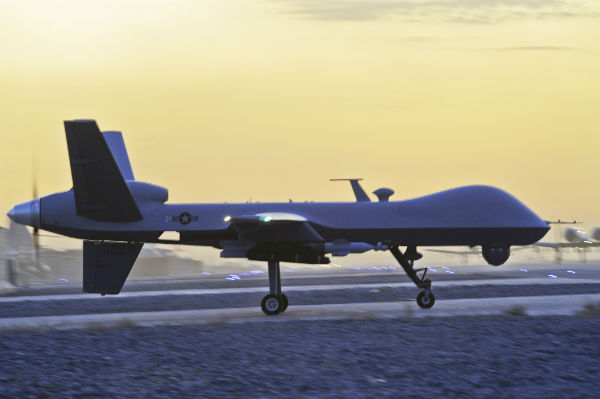"""A 2009 US Air Force photo titled """"ready to hunt"""" shows an armed American MQ-9 Reaper drone taxiing in Kandahar, Afghanistan."""