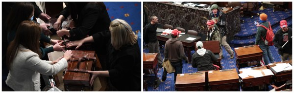 Side by side images of aides opening the cases that hold the electoral college votes after the session resumed in the evening and of insurrectionists waking around on the floor of the House camber.
