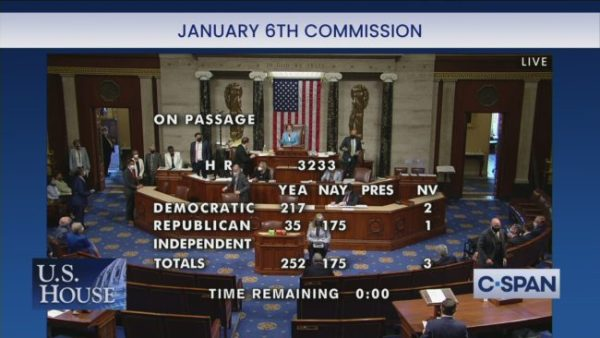 A screenshot from C-Span with the words, 'January 6th Commission' at the top. Representatives sit and walk on the House floor. The breakdown of votes on HR 3233 are overlaid the video. 'Yea, Democratic 217; Nay, Democratic [blank]; PRES, Democratic [blank]; NV, Democratic 2; Yea, Republican 35; Nay, Republican 175; NV, Republican 1' Yea, Nay, Pres, and NV are all blank for Independent. 'Totals: Yea 252; Nay 175; NV 3; Time Remaining 0:00'