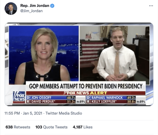"""A tweet by Rep. Jim Jordan (@Jim_Jordan) on January 5, 2021 at 11:55pm of him speaking with a Fox representative on Fox News. The caption on Fox News reads, """"GOP Members Attempt to Prevent Biden Presidency"""""""