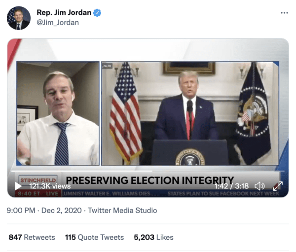 """A tweet by Rep. Jim Jordan (@Jim_Jordan) on December 2, 2020 at 9:00pm with a video of Jim Jordan speaking and Trump speaking. A caption on the video reads, """"Preserving Election Integrity"""""""