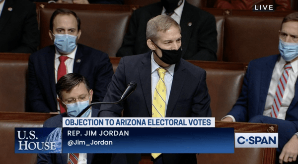 """Jim Jordan speaks in Congress. The image shown is from a video from C-Span and the C-Span caption reads, """"U.S. House: Objection to Arizona Electoral Votes: Re. Jim Jordan @Jim_Jordan"""""""