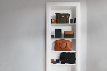 Bags on a shelf.