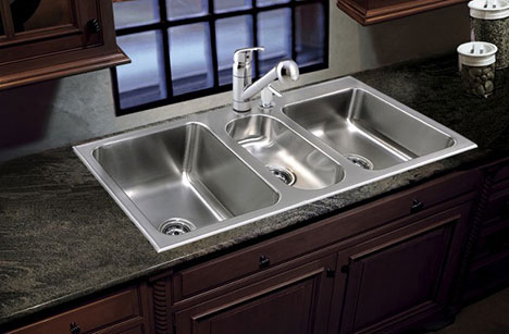 triple bowl sink stainless steel