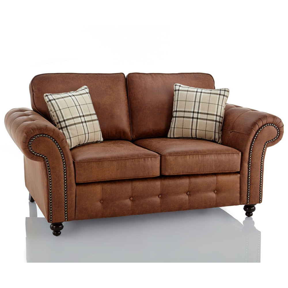Nicollo hunston 2+3 seater simulated leather sofa. Oakland Faux Leather 2 Seater Sofa in Brown | Just Sleep On It