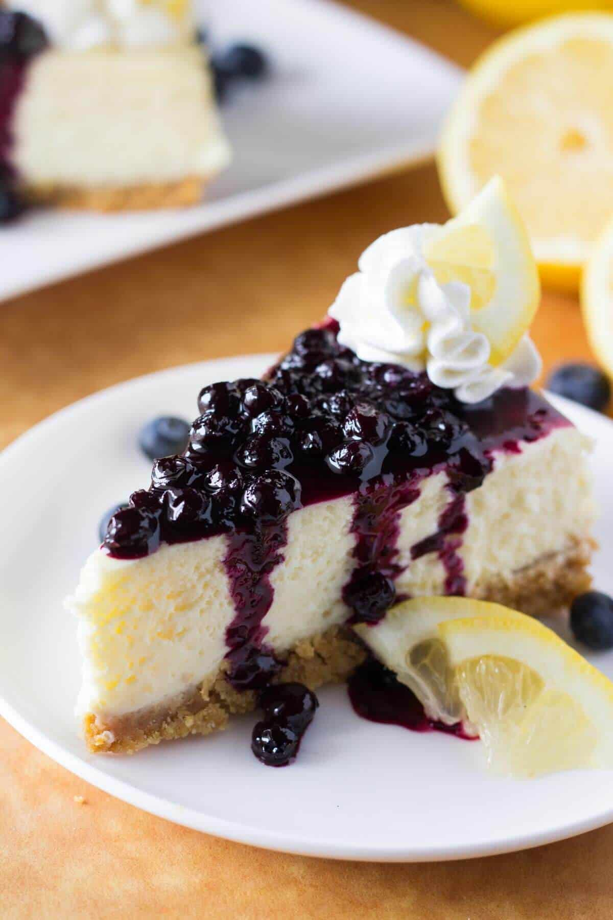 Lemon Cheesecake With Blueberry Compote Just So Tasty