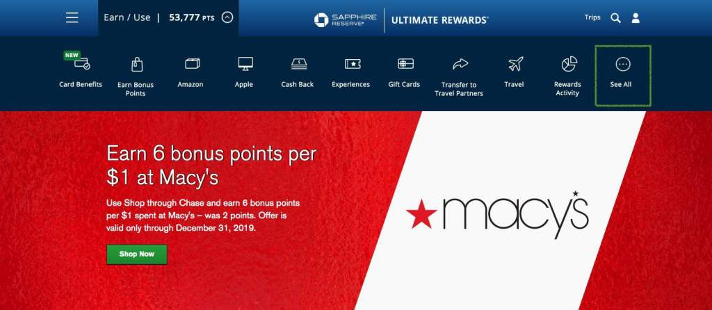 Chase Ultimate Rewards Portal - See All