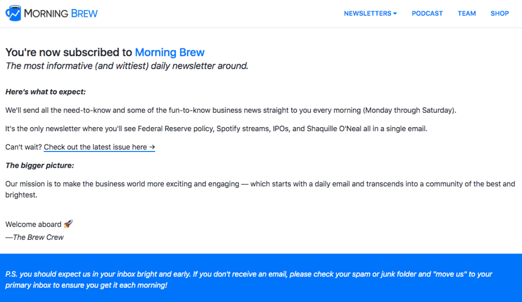 Email Newsletter Confirmation Page