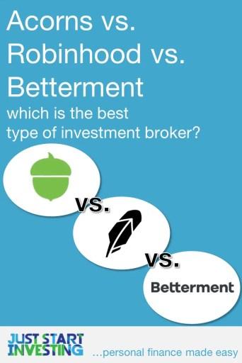 Acorns vs Robinhood vs Betterment -Pinterest