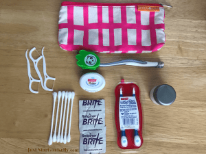 travel bag with dental supplies