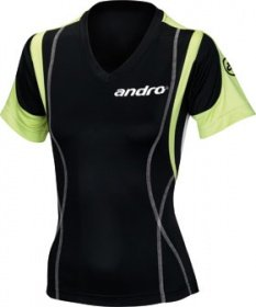 andro Shirt KAJANO V-Neck Women black/lime