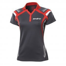 andro Polo Magua Women Anthracite/Red 100% Polyester IndoorDRY