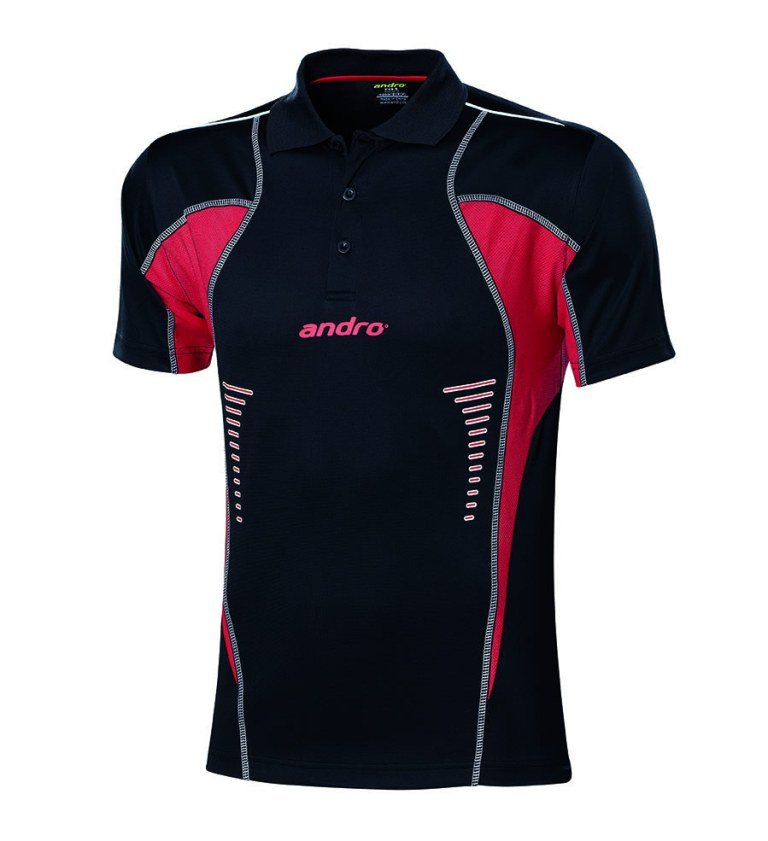 andro Polo Lasca Blk/Red 100% Polyester IndoorDRY
